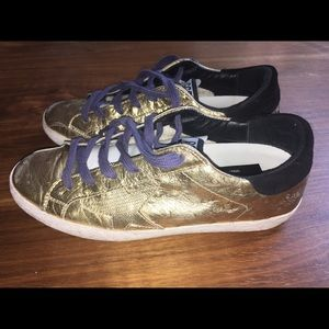 GGDB gold foil sneakers
